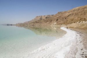 Dead Sea shoreline, 428 metres below sea level.