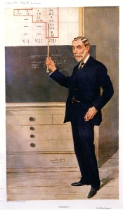 Vanity Fair caricature of Ramsay lecturing on the Periodic Table. He is pointing to Group VIII, the noble gas elements, that he and Rayleigh discovered and of which argon (here labelled A rather than Ar) was the first member to be identified as such. Click for larger image