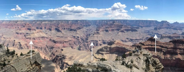 View of the Grand Canyon from the South Rim trail. Arrows point to the Cambrian Tapeats Sandstone.